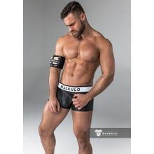 MASKULO - Trunks - Rubber Look - Detachable codpiece - Rear Zip - Black | SUPERSALE