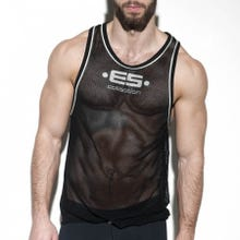 ES Collection TS225 Detail Contrast Tank Top black/silver SUPERSALE