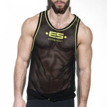 ES Collection TS225 Detail Contrast Tank Top black/lemon green|SUPERSALE