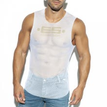 ES Collection TS260 Mesh Broad Tank Top white SUPERSALE