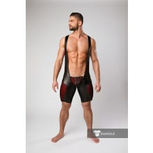 MASKULO - Armored Color Under Mens Fetish Wrestling Singlet Zipped rear - Red/Black