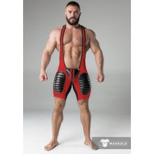 MASKULO - Wrestling Body - Detachable Codpiece - Open rear - Thigh pads - Red/Black | SUPERSALE
