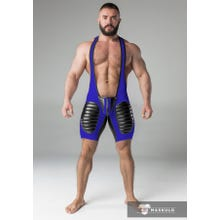 MASKULO - Wrestling Body - Detachable Codpiece - Open rear - Thigh pads - Blue/Black | SUPERSALE
