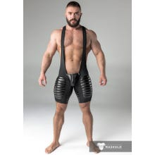 MASKULO - Wrestling Body - Detachable Codpiece - Open rear - Thigh pads - Black | SUPERSALE